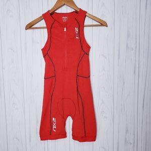 2XU Active Trisuit Triathlon Suit Red Junior Med